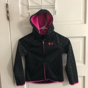 Under Armour Zip Up Hoodie Black Pink Girls 6